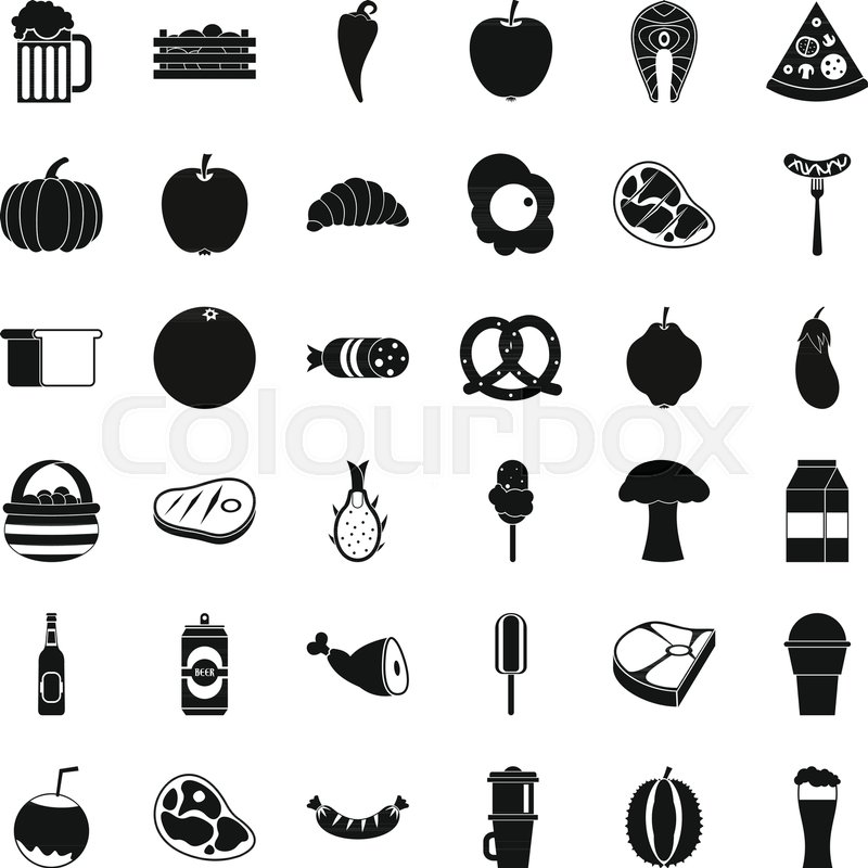 800x800 Breakfast Icons Set. Simple Style Of 36 Breakfast Vector Icons For