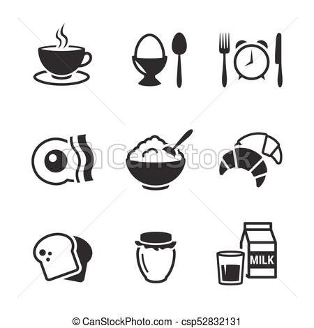 450x470 Breakfast Icons Set. Black On A White Background.