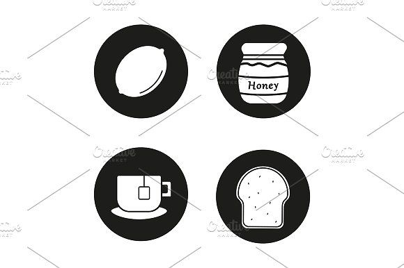 580x386 Breakfast Items. 4 Icons. Vector Breakfast Items, Icons And