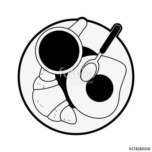 500x500 Bread And Eggs Breakfast Icon Vector Illustration Graphic Design