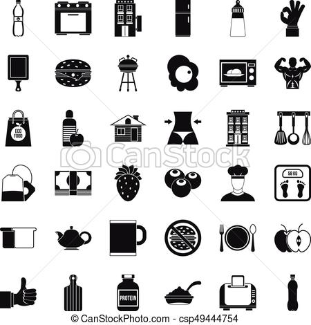 450x470 Early Breakfast Icons Set, Simple Style. Early Breakfast Icons Set