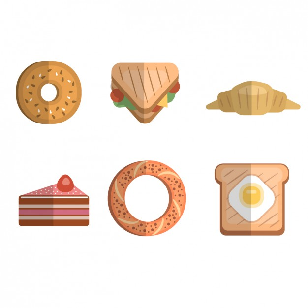 626x626 Flat Breakfast Icons Collection Vector Free Download
