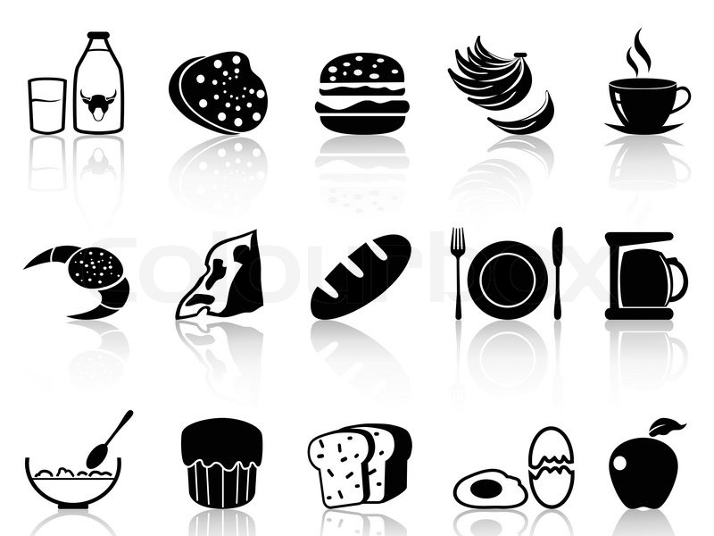 800x600 Isolated Black Breakfast Icons Set From White Background Stock