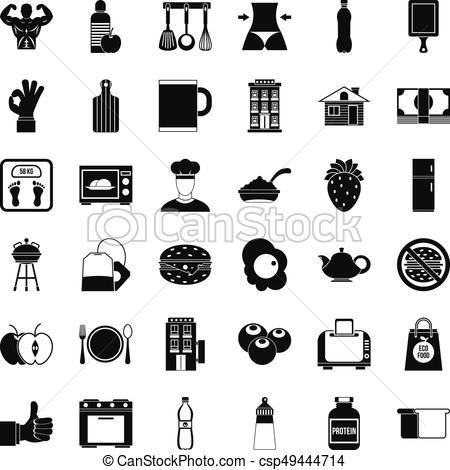 450x470 Nice Breakfast Icons Set, Simple Style. Nice Breakfast Icons Set