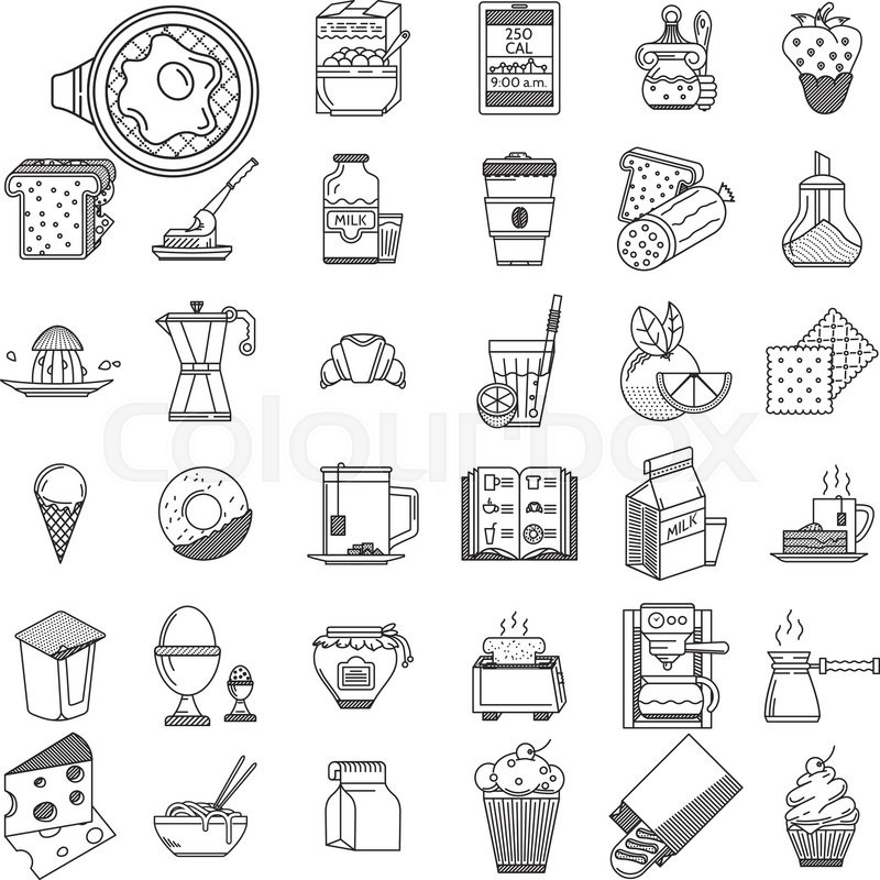 800x800 Set Of 35 Vector Icons Black Flat Line Design For Breakfast, Lunch