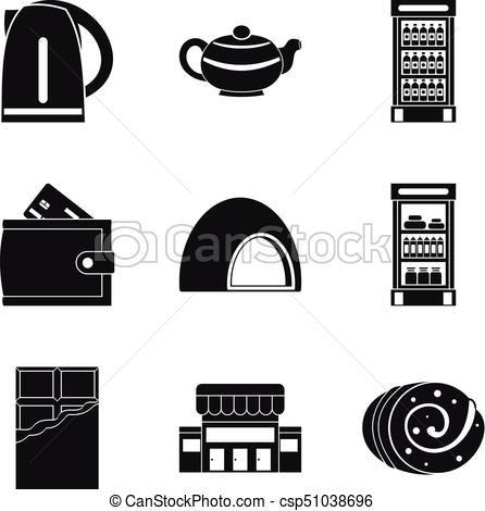 446x470 Sweet Breakfast Icons Set, Simple Style. Sweet Breakfast Icons Set
