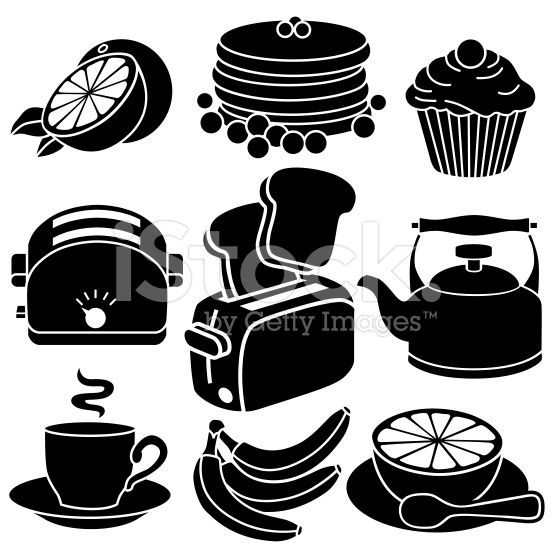 556x556 Vector Icons With A Breakfast Theme. Black And White Vector