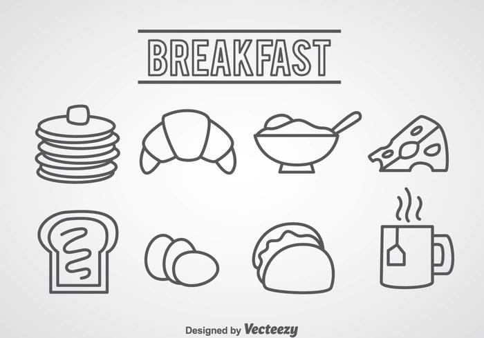 700x490 Breakfast Food Outline Icons