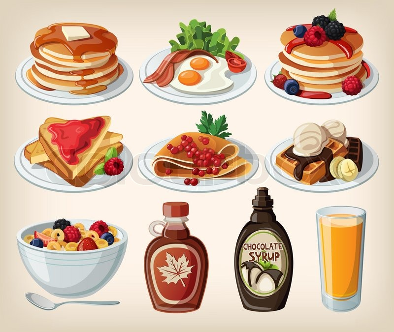 800x675 Classic Breakfast Cartoon Set With Pancakes, Cereal, Toasts And
