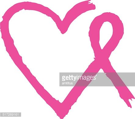 442x390 Breast Cancer Awareness Ribbon With Heart Shape In The Middle On