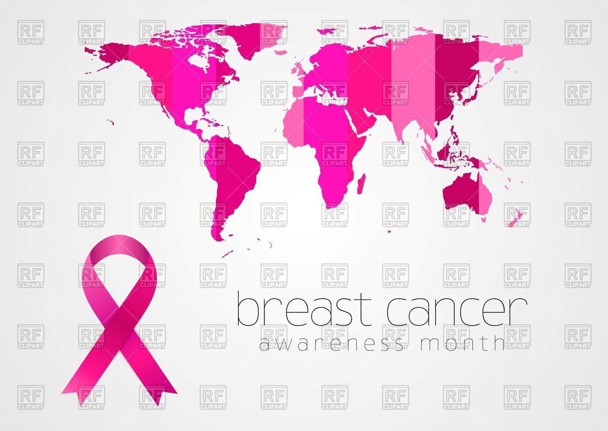 1200x850 Breast Cancer Awareness Pink Ribbon And World Map Vector Image