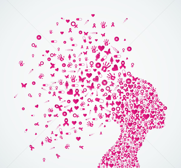 600x557 Breast Cancer Awareness Ribbon Woman Head Composition. Vector