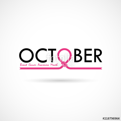 500x500 Breast Cancer October Awareness Month Typographical Campaign