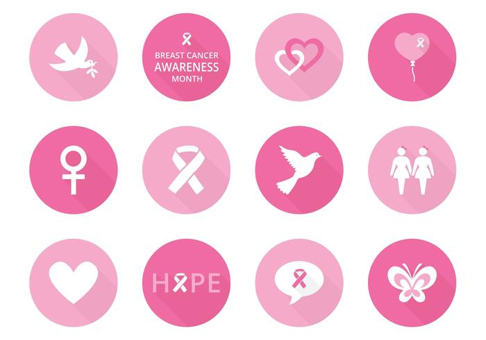 700x490 Breast Cancer Awareness Vector Icons