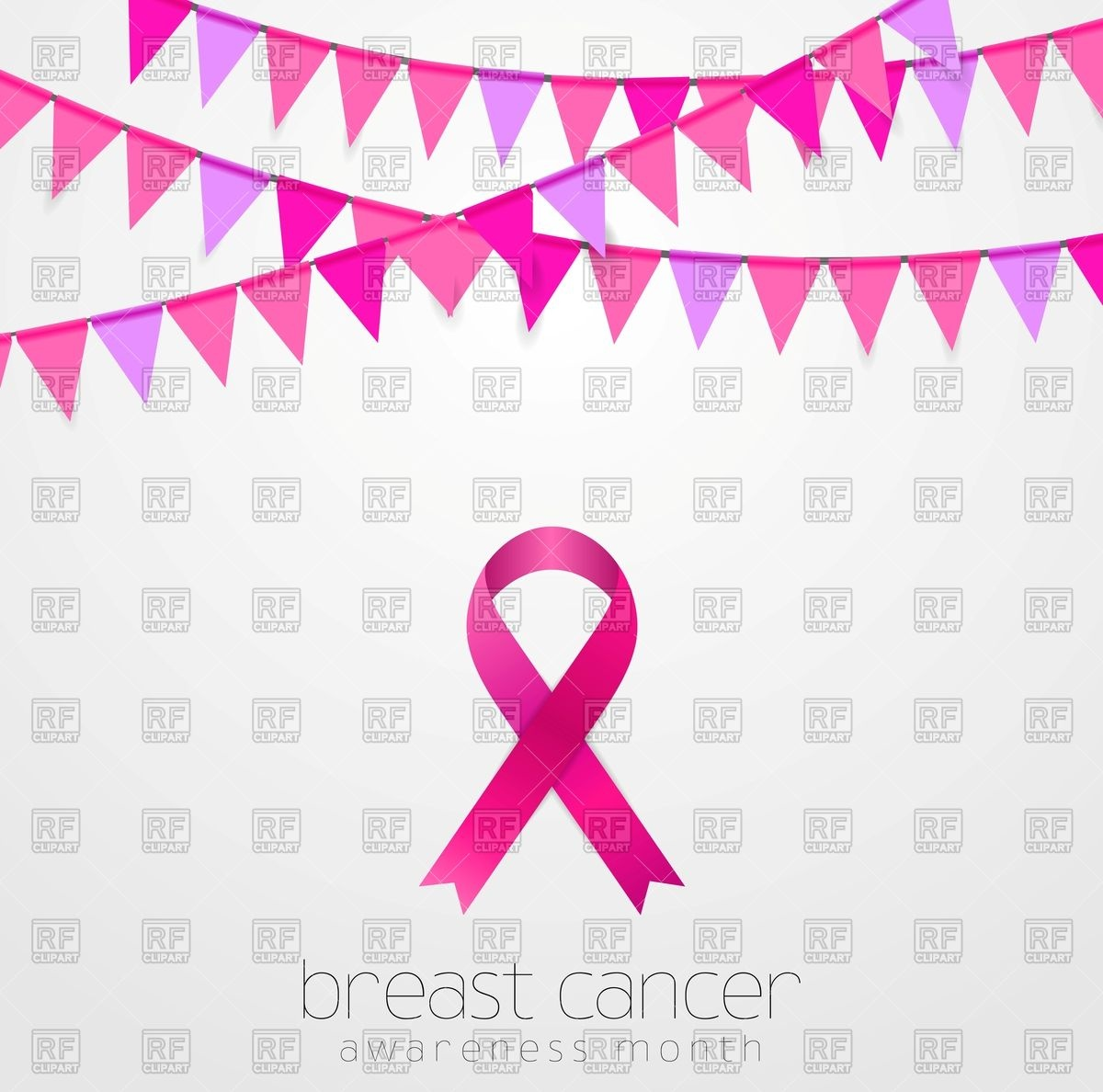 1200x1188 Breast Cancer Awareness Month. Pink Flags And Ribbon. Vector Image