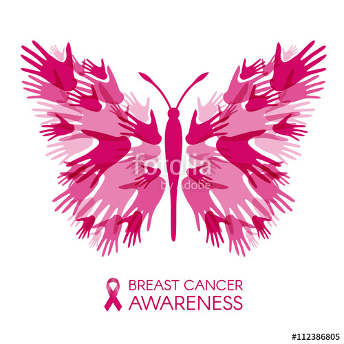 500x500 Breast Cancer Awareness With Hands Butterfly Sign And Pink Ribbon