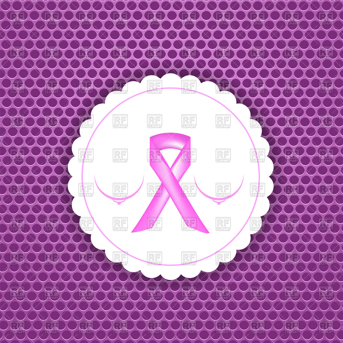 1200x1200 Pink Breast Cancer Ribbon On Paper Sticker Vector Image Vector