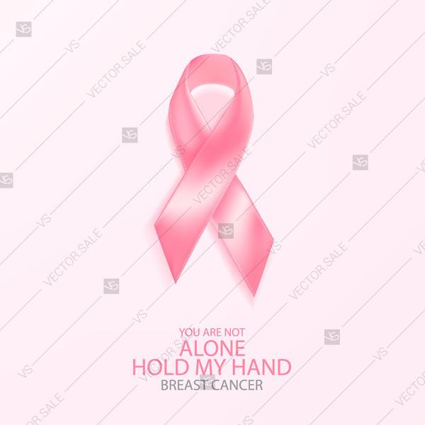 600x600 Realistic Pink Ribbon, Breast Cancer Awareness Symbol, Vector