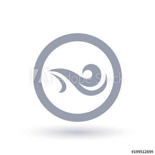 500x500 Fresh Wind Icon In Circle Outline. Air Flow Symbol. Wind Breeze
