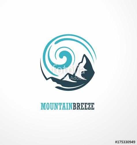 475x500 Mountain Logo Design Idea With Mountain Shape And Wind Breeze