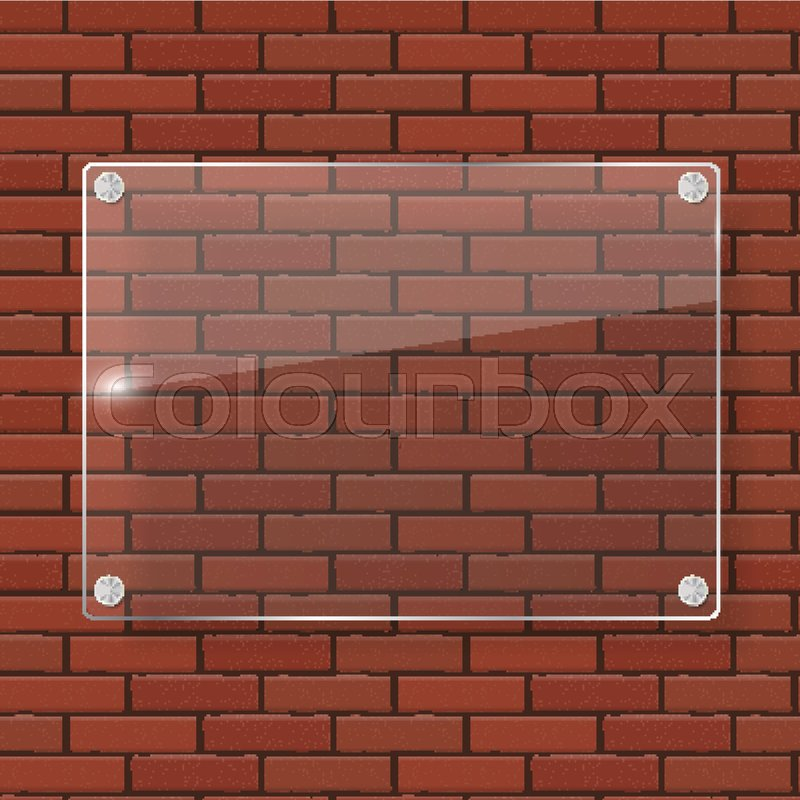 800x800 Glass Frame On Brick Wall Vector Illustration Background Eps10