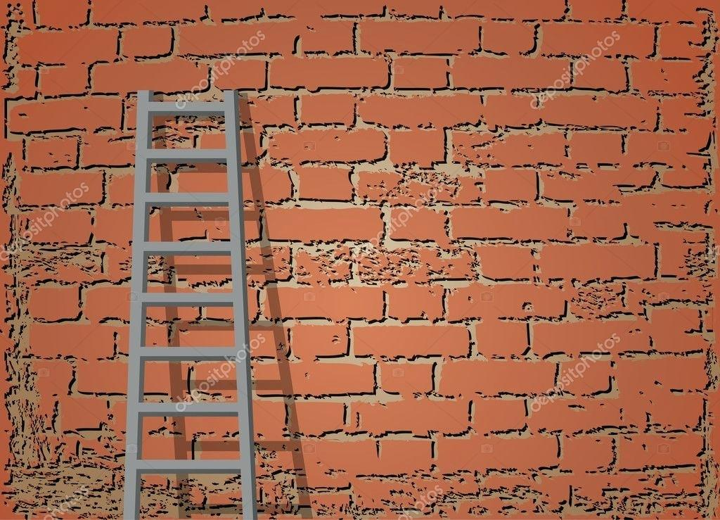1024x739 Ladder Against A Wall Ladder Against Brick Wall Vector