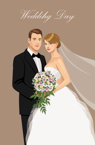 330x500 Bride And Groom Wedding Invitation Vectors