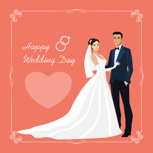 500x500 Beautiful Bride And Groom Vector Set 01 Free Download