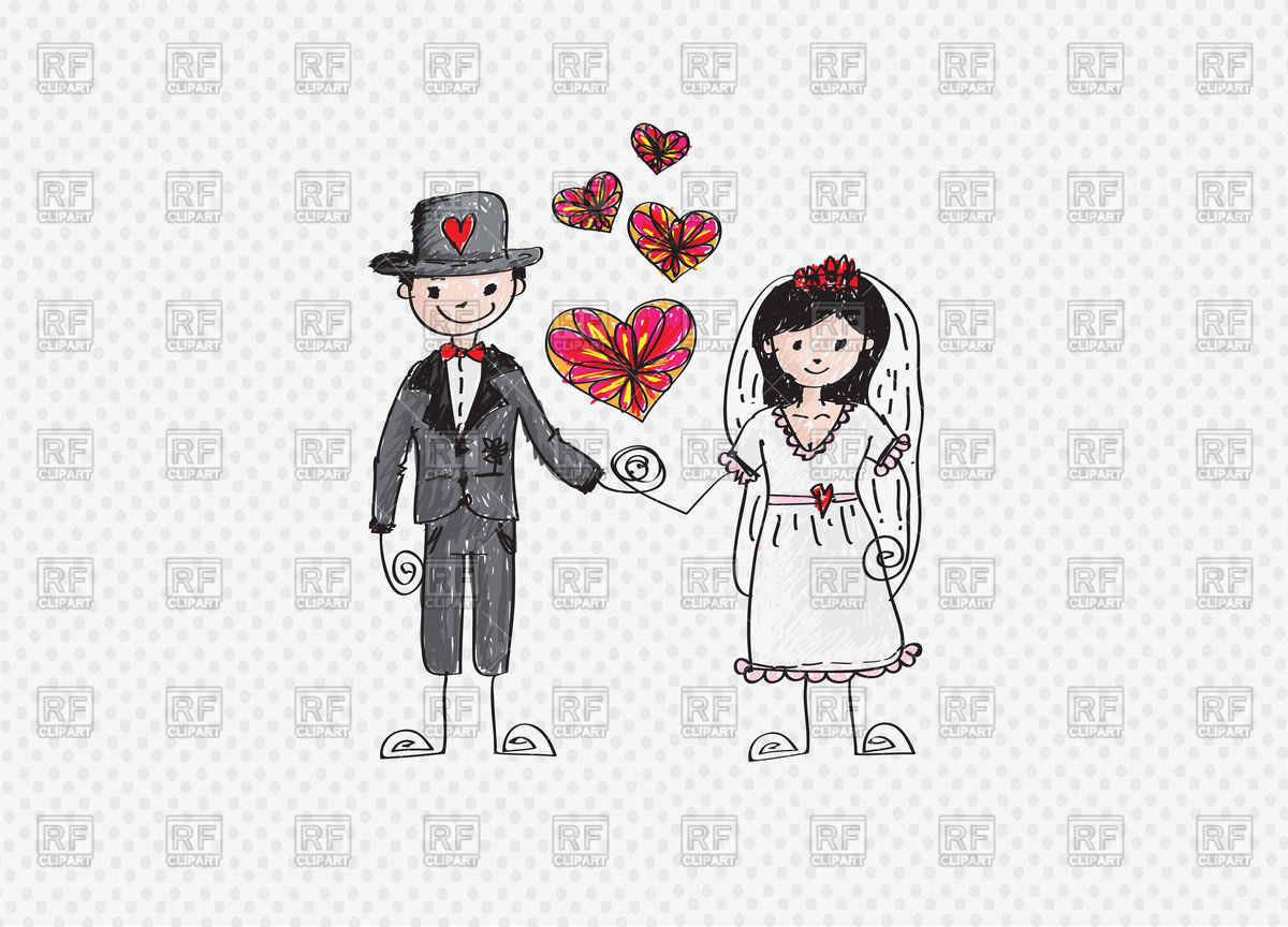 1200x864 Colorful Sketch Of Bride And Groom Vector Image Vector Artwork