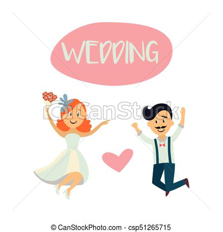 450x470 Wedding Card With Funny Couple, Bride And Groom. Wedding Card