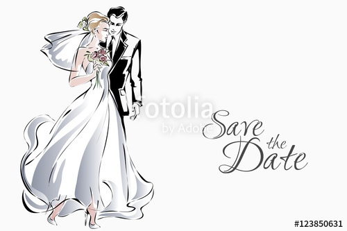500x333 Wedding Couple Are Kissing, Happy Bride And Groom, Vector Stock