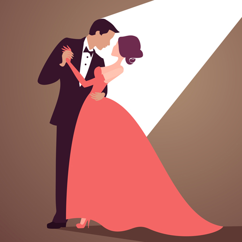 500x500 Beautiful Bride And Groom Vector Set 04 Free Download