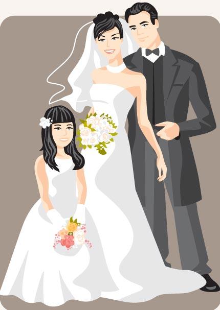 430x607 Cartoonish Bride And Groom Vector Cards