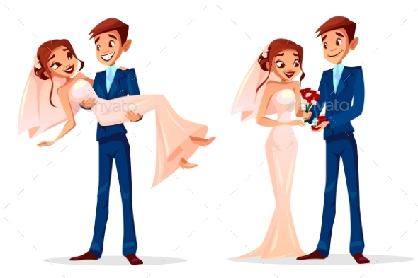 590x393 Couple Wedding Bride And Bridegroom Vector By Vectorpouch