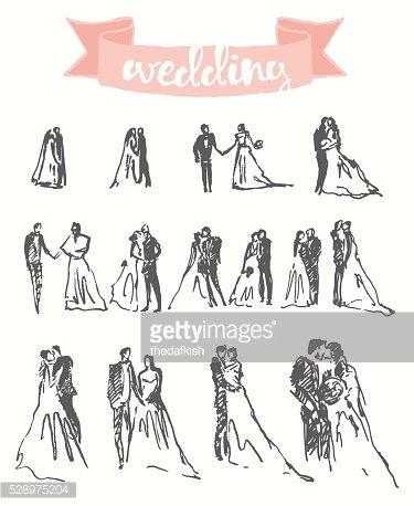375x458 Drawn Happy Bride Groom Vector Illustration Sketch Premium Clipart