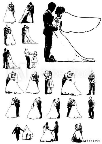 354x500 Silhouette Wedding Bridegroom Bride Embrace Vector