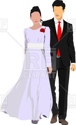 243x400 Silhouettes Of Bride And Bridegroom Vector Image Vector Artwork