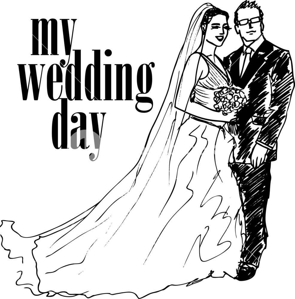 986x1000 Sketch Of Bride And Groom. Vector Illustration Royalty Free Stock