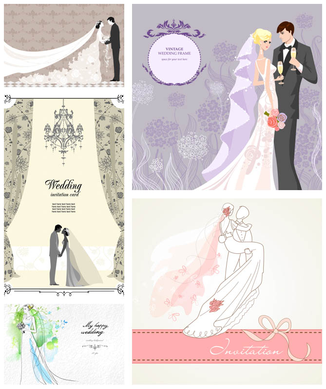 669x800 Wedding Invitations With Bride And Groom Vector Vector Graphics Blog
