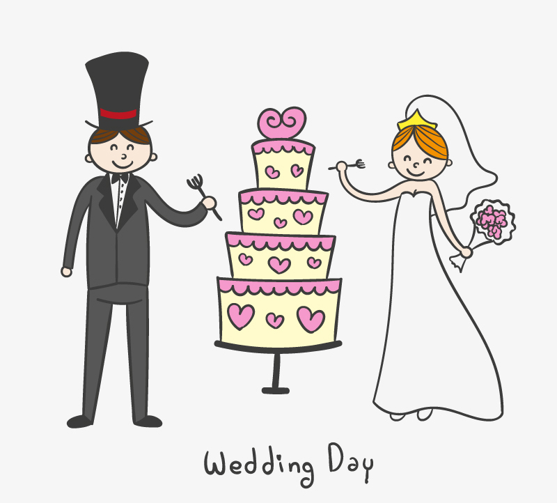 800x722 Cartoon Wedding Cake With The Bride And Groom Vector Character