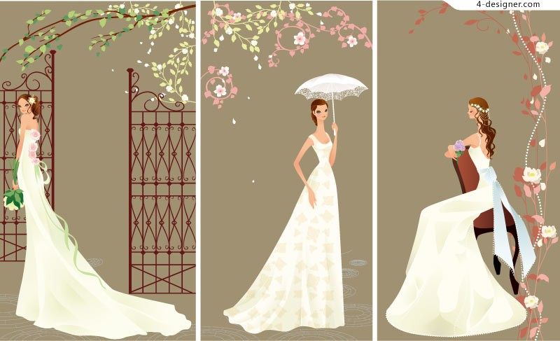 800x487 4 Designer Elegant Cartoon Wedding Bride Vector Material
