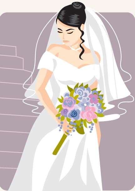 431x610 Cartoonish Bride And Groom Vector Cards