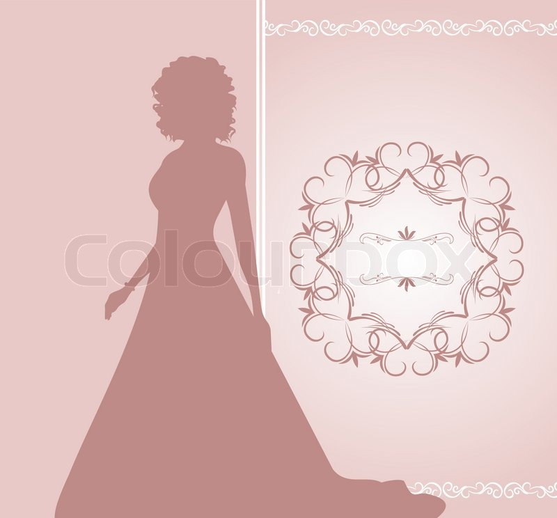 800x744 Illustration Wedding Invitation Or Card With Girl Bride