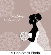 180x195 Silhouettes Of The Bride And Groom On A Burgundy Background With