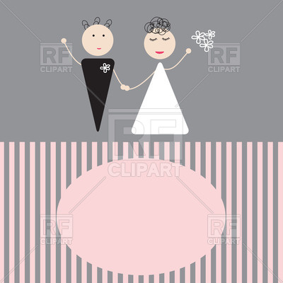 400x400 Wedding Invitation With Bridegroom And Bride Vector Image Vector