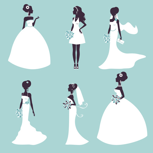 500x500 Bride And Wedding Silhouettes Vector Material Free Download