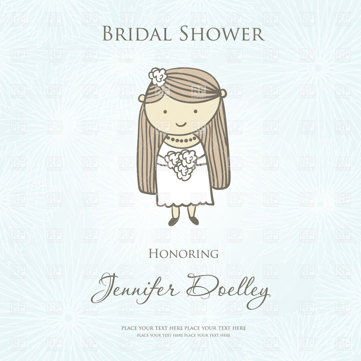 1200x1200 Wedding Invitation With Cute Cartoon Bride Vector Image Vector
