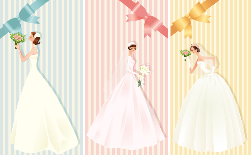 800x493 Beautiful Bride With Bow Wedding Card Vector Free Download