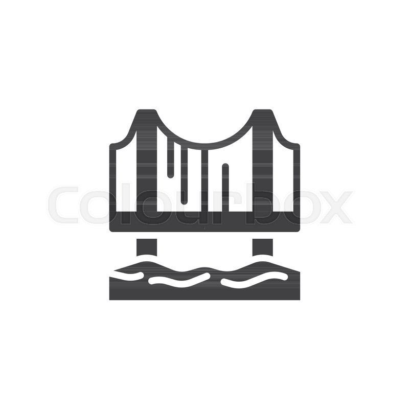 800x800 Bridge Icon Vector, Filled Flat Sign, Solid Pictogram Isolated On