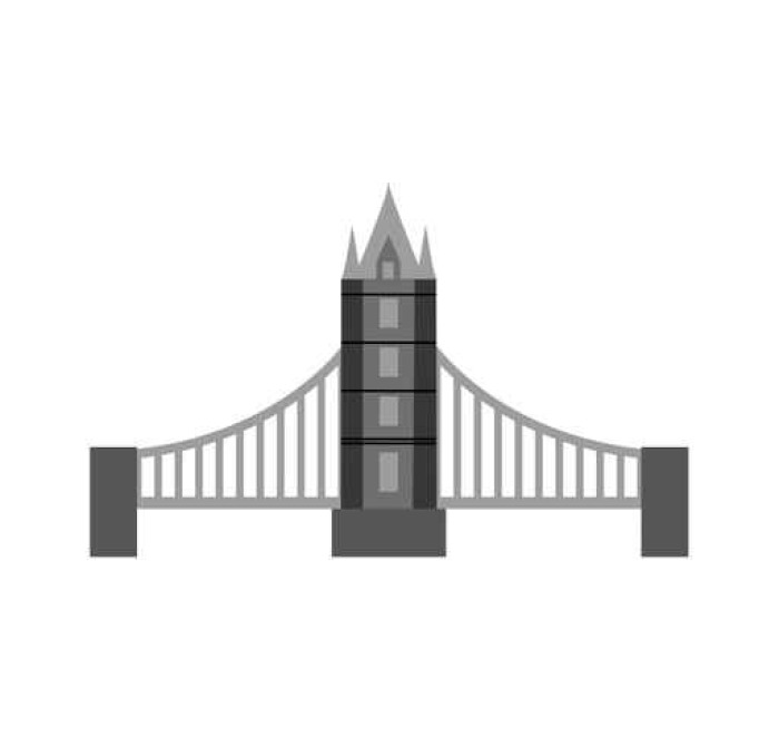 700x663 Classic British Bridge Icon Vector Illustration Design Wall Mural